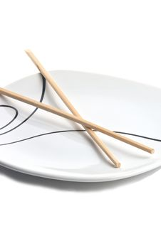 Free Chopsticks And Plate Royalty Free Stock Images - 17127389