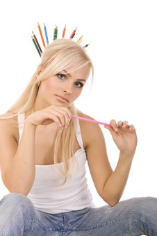 Free Very Beautiful Blonde With  Of Colored Pencils Stock Photos - 17127643