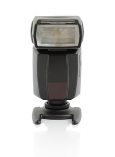 External Flash On A White Background Royalty Free Stock Photography