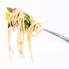 Free Spaghetti With Vegetables On A Fork Royalty Free Stock Photo - 17128835