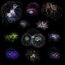 Free Set Of Isolated Colored Fireworks Explosions Stock Image - 17129121