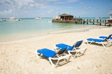 Free Blue Chairs On Tropical Beach Stock Photography - 17129592