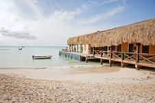 Free Beach Bar With Thatched Roof Stock Image - 17129641