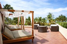 Two Cabana Beds In The Tropics Royalty Free Stock Images