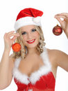 Free Beautiful Sexy Santa Clause Woman In Party Red Hat Royalty Free Stock Images - 17139939