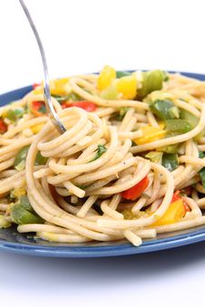 Spaghetti With Vegetables Stock Photo