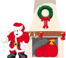 Free Santa Claus In Chimney 4 Royalty Free Stock Image - 17132176