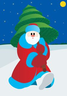Santa Claus With Christmas Tree Stock Images