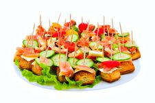 Free Canape With Red Fish Royalty Free Stock Photos - 17133828