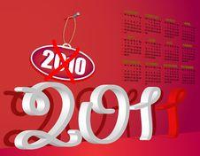 Free Calendar 2011 Red Stock Photos - 17134243