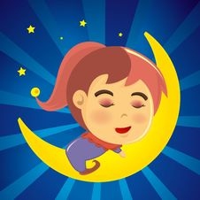 Free Cute Girl Sleeping On The Moon Stock Photography - 17134462