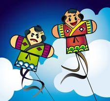 Japanese Kites In The Sky