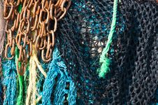 Free Fishing Nets And Rusty Chain Royalty Free Stock Photography - 17135357