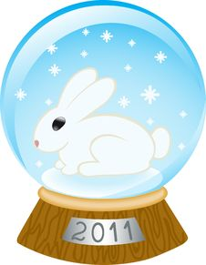 Glass Bowl With A Rabbit Royalty Free Stock Photography