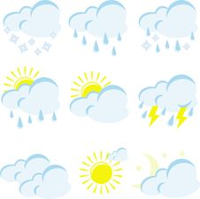 Free Set Of Weather Icons Royalty Free Stock Photos - 17135858