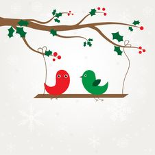 Free Birds Couple On The Holly Berry Branch. Royalty Free Stock Photography - 17135947