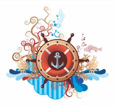 Beautiful Composition In Sea Style With Anchor Stock Photo