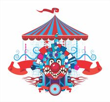 Free Circus Composition With The Malicious Clown Royalty Free Stock Image - 17136226