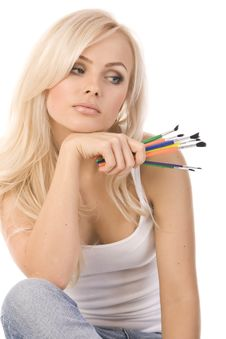 Free Very Beautiful Blonde With  Of Colored Pencils Stock Photography - 17137232
