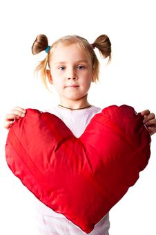 Beautiful Girl Giving A Heart Royalty Free Stock Image