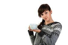 Beautiful Girl Holding A Cup Of Tea Royalty Free Stock Photo