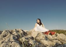 Romantic Woman With Red Boots Royalty Free Stock Photos