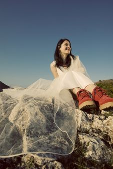 Romantic Woman With Red Boots Stock Photos