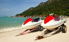 Free Two Jetskies Standing On The Beach Stock Images - 17139524