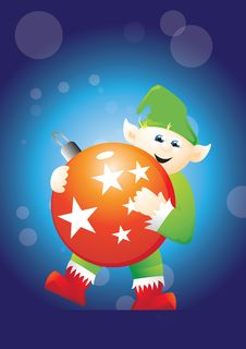 Free Elf Carrying Bauble 2 Royalty Free Stock Images - 17139619