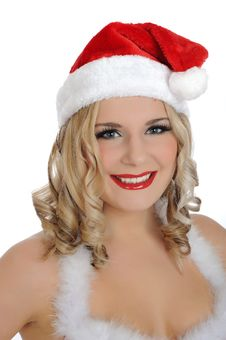 Beautiful Sexy Santa Clause Woman In Party Red Hat Stock Images