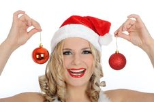 Free Beautiful Sexy Santa Clause Woman In Party Red Hat Stock Photography - 17139962
