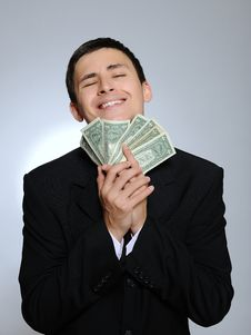 Free Expressions Young Business Man With Money Royalty Free Stock Photography - 17139997