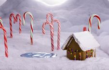 Free Christmas Candy Cane Forest Cottage Pond Stock Image - 17140701