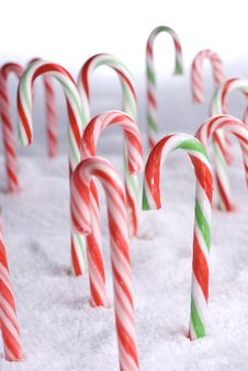 Free Christmas Candy Canes In The Snow Portrait Stock Images - 17140734