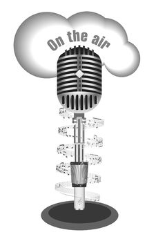 Antique Microphone With Music Note Stock Photo