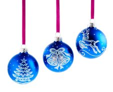 Christmas Balls Hanging With Ribbons Stock Image