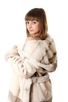 Free A Beautiful Young Girl In A Fur Coat Stock Photo - 17142150