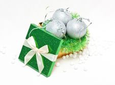 Free Gift Box With Baubles Royalty Free Stock Photography - 17142557
