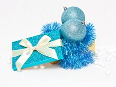 Free Gift Box With Baubles Royalty Free Stock Photo - 17142605
