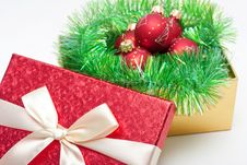 Free Gift Box With Baubles Stock Image - 17142671