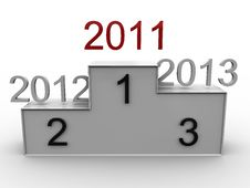 Podium With The Years 2011, 2012, 2013. 3D Stock Images