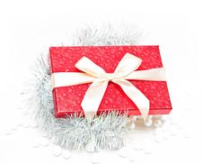 Free Gift Box With Tinsel Royalty Free Stock Image - 17143236