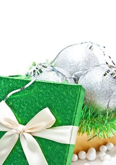 Free Gift Box With Baubles Stock Photo - 17143260