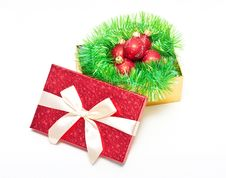Free Gift Box With Baubles Stock Images - 17143294