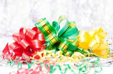 Christmas Background With Ribbons Stock Photography