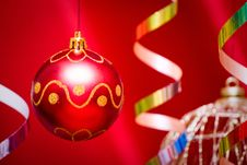 Free Red Christmas Ball Stock Images - 17143944