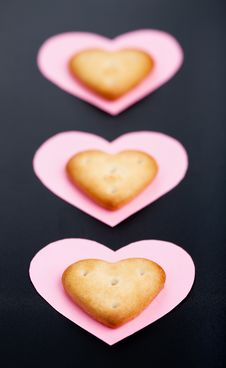 Free Three Crackers On Paper Hearts Stock Photography - 17144032