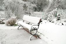Snow-covered Bench Stock Photos