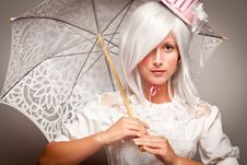 Free Pretty White Haired Woman With Parasol Royalty Free Stock Images - 17144619