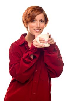 Free Pretty Red Haired Girl With Hot Drink Mug Isolated Royalty Free Stock Photos - 17144638